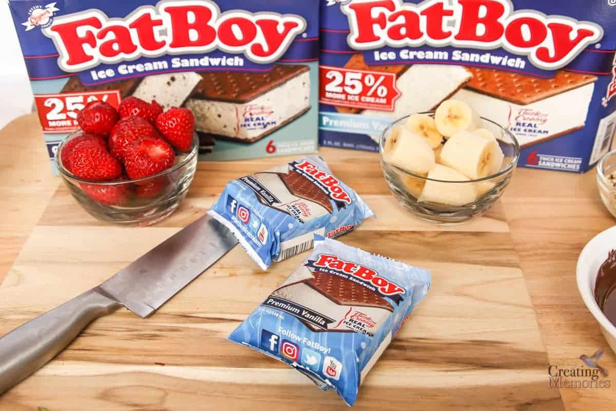 Delicious FatBoy Banana Split Kabobs Ice Cream sandwiches on a stick!