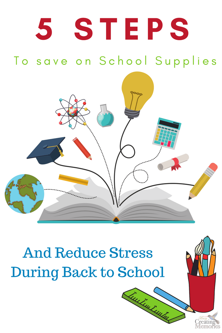 Don't let Back to school shopping put you in the poor house! Use these top 5 steps to save money on school supplies, plus save time, energy & reduce stress! These tips will keep you in your budget!