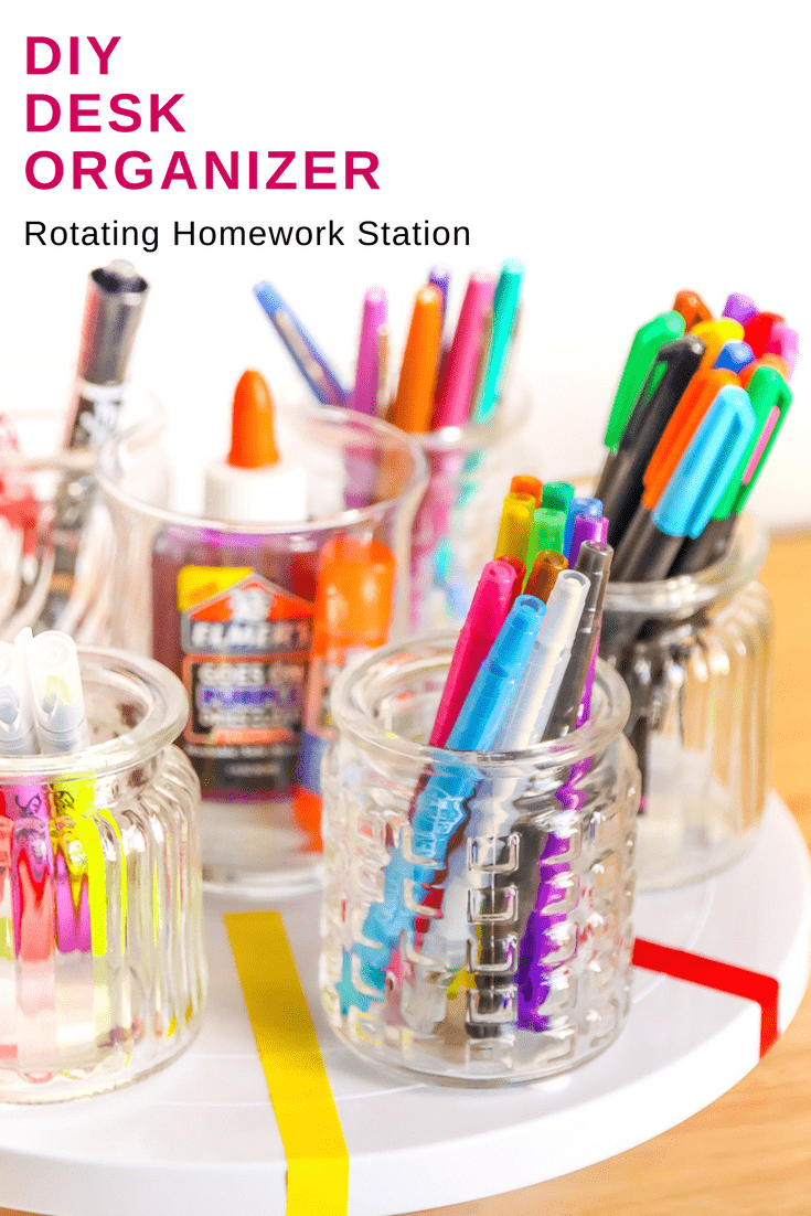 DIY Rotating Desk Organizer for an easy Homework Station