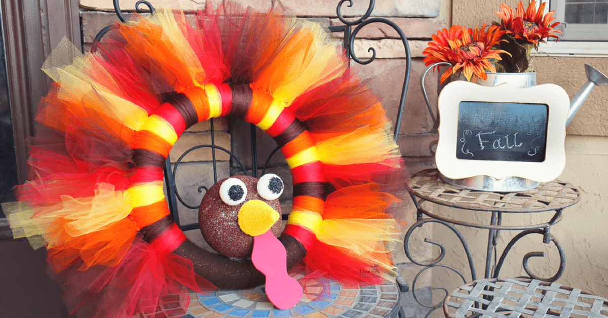 DIY Turkey Tulle Wreath Best Thanksgiving Wreath for your door