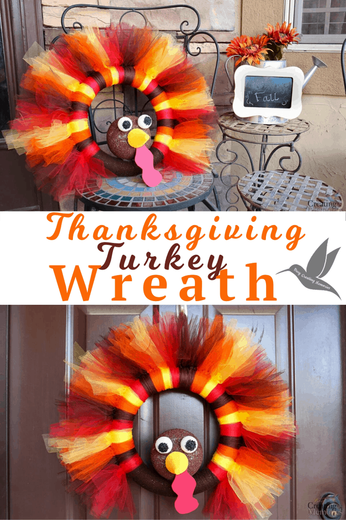 Don't Skip Thanksgiving! Learn How to make this easy Homemade DIY Thanksgiving Turkey Tulle Wreath craft! The best Simple Fall Thanksgiving Wreath for your front door decor! It's such a simple craft tutorial that even the kids can help! The Best Thanksgiving Wreaths to Welcome All Your Holiday Guests in Style