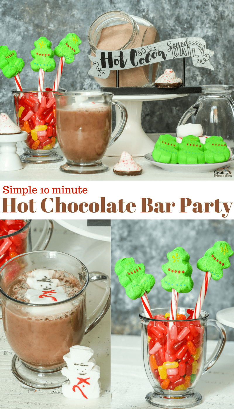 Warm up this winter with an insanely easy & small DIY Hot Chocolate Bar Party for Kids using their favorite Holiday Marshmallow PEEPS for toppings! Set Up ready In only 10 minutes and perfect for Christmas Party Ideas!