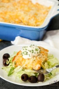 Green Chile Chicken Enchilada Casserole Bake Recipe
