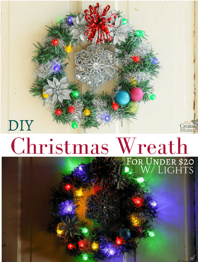 DIY Lighted Christmas Wreath for under $20 from Dollar General