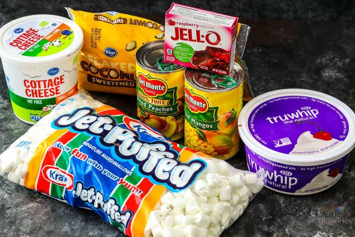 Peach & Raspberry Fluff Recipe Best Jello Fruit salad for a social dinner