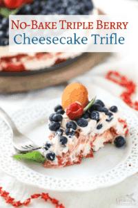 Easy No Bake Triple Berry Cheesecake Trifle Recipe
