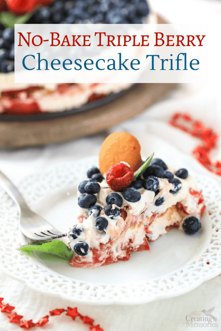 A beautifully simple Patriotic no-bake layered triple berry cheesecake trifle cake recipe with mascarpone cheese, homemade whipped cream, fresh fruit, and NILLA Wafers. An easy summer dessert that tastes like Strawberry Shortcake and Perfect for 4th of July holiday, or any social parties.