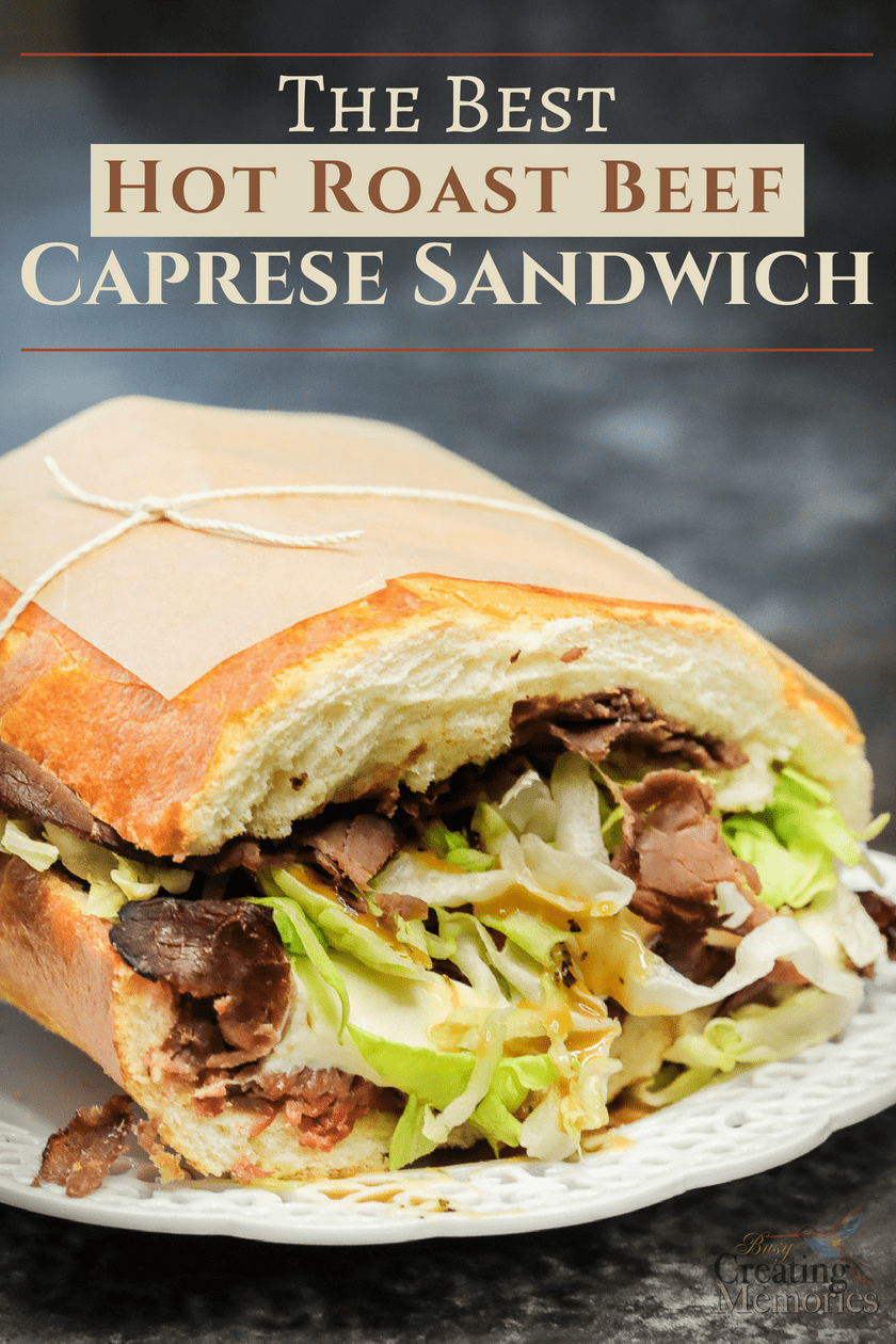 Hungry? In just 15 minutes & 6 deli ingredients, you can make the best gourmet restaurant-style toasted hot roast beef Italian Caprese sandwich recipe & bring a taste of Europe to your table. An easy grilled sandwich with cheese you can enjoy open faced or sub style, perfect for a crowd at lunch or dinner