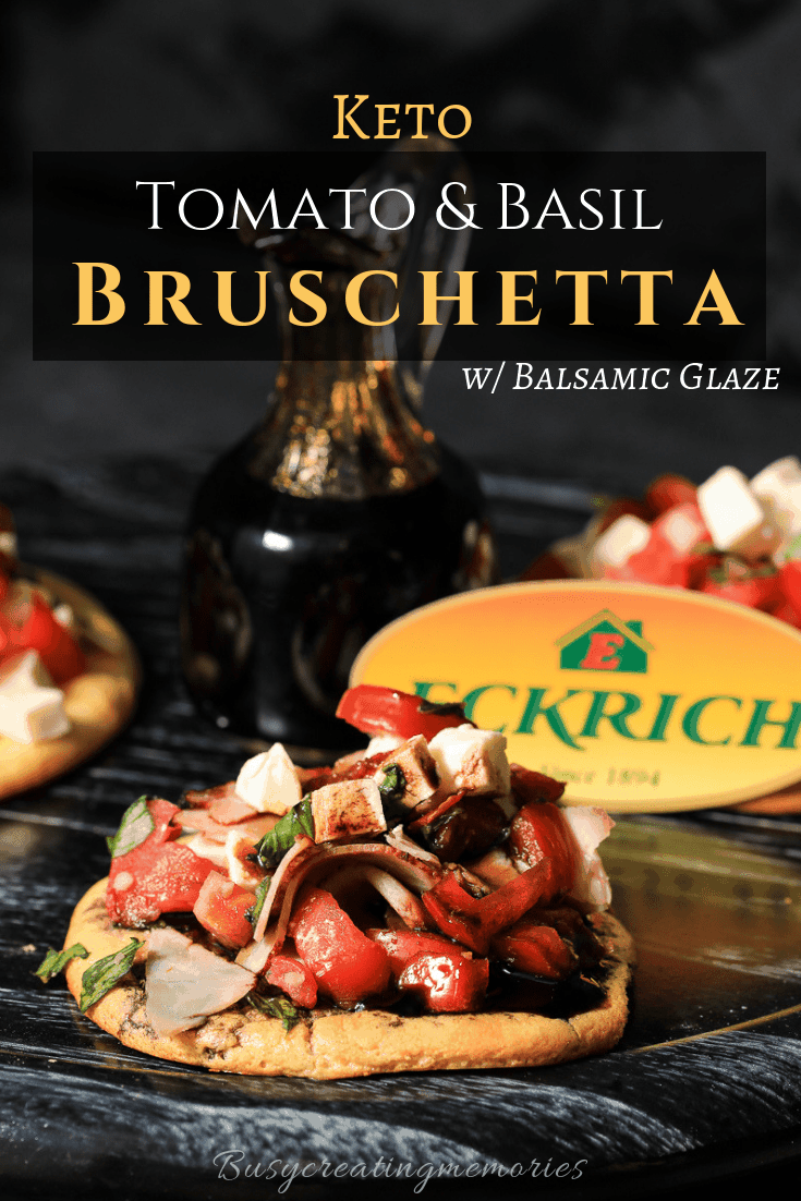 Make a gourmet family dinner without the effort. This easy Keto tomato bruschetta recipe with fresh mozzarella and balsamic vinegar glaze is the perfect Low Carb and Gluten-Free Caprese Recipe for easy party appetizers or family dinner on a busy night.