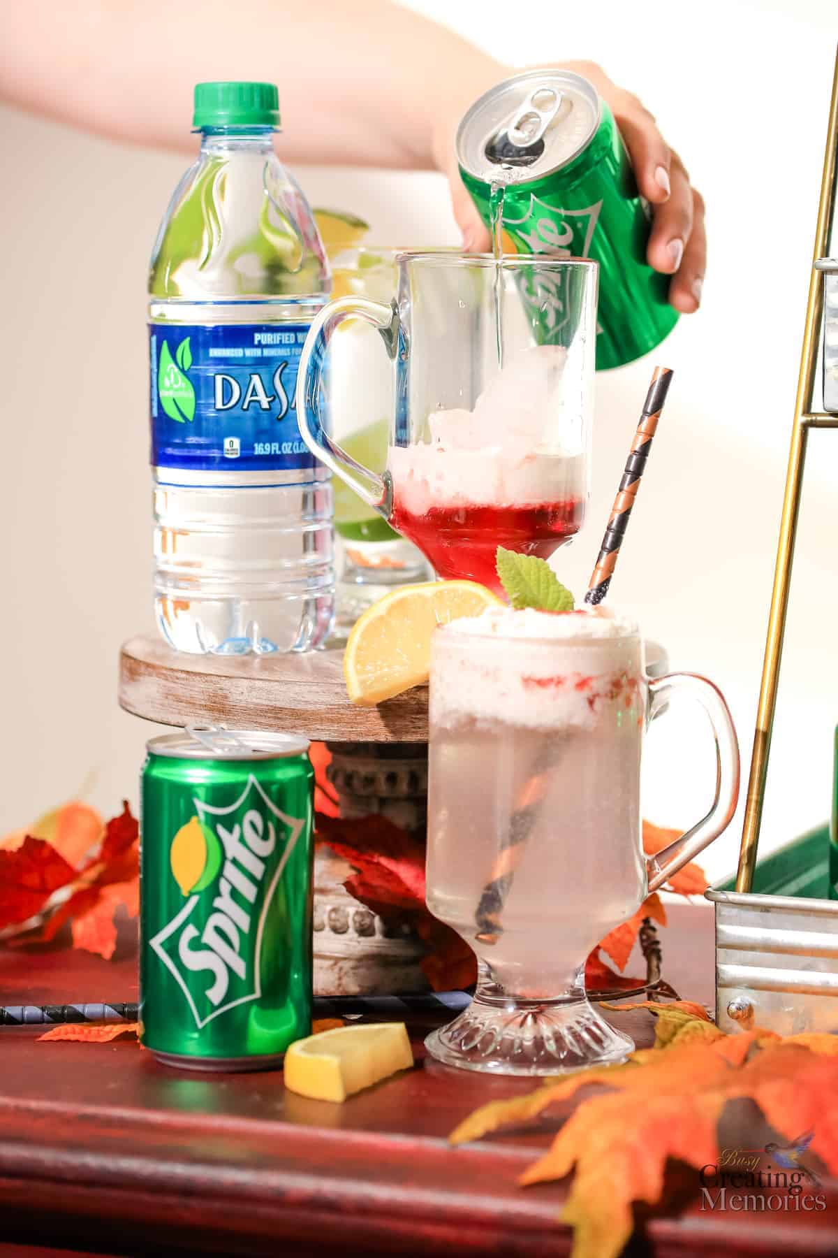 Easy DIY Holiday Drink Station Soda Bar Tablescape