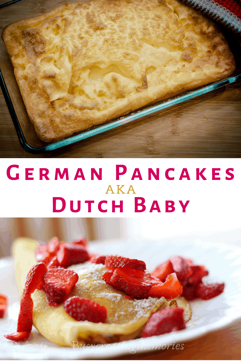 German Pancakes (aka Dutch Baby Pancake or pfannkuchen) is an easy, frugal, delicious recipe for Breakfast, lunch, and even dinner! Best Christmas morning or any time, baked in the oven or skillet with Lemon and Fruit toppings.