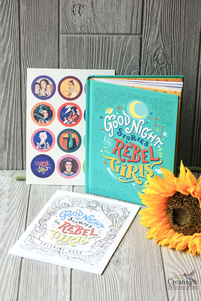 Book with stickers and sunflower- good night stories for rebel girls