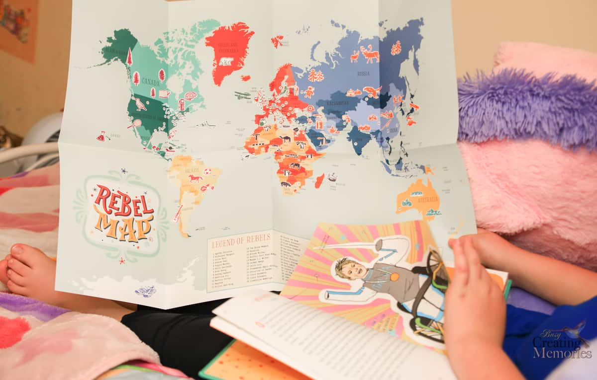Map that comes with the Good night stories for rebel girls