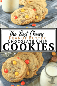 a plate full of chewy chocolate chip cookies with a glass of milk