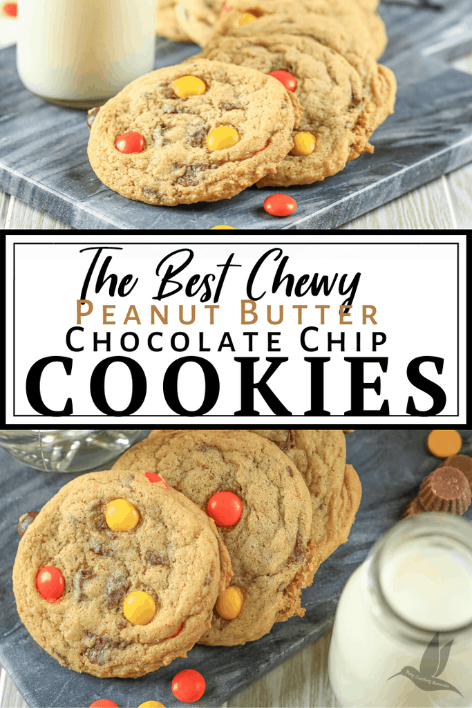 If you want the perfectly soft and chewy cookie with a pairing of peanut butter cups, Reese\'s Pieces candies and chocolate chips these are the perfect Fall cookie recipes for you! These super soft and chewy Peanut Butter chocolate chip cookies are the most popular cookie recipe for any season with no chilling required. Just the perfect ultra-thick, soft, and chewy chocolate chip cookies every time! #BakeBetterCookies #ChocolateChipCookies #ChewyCookies #ChewyChocolateChipCookies